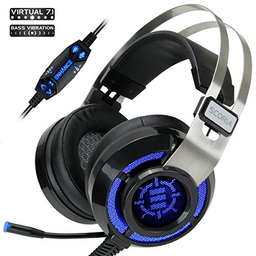 ENHANCE Cascos Gaming Scoria Headset USB/Auriculares Gaming Surround Sound 7.1 con Vibración y Microfono Extraible ¡ Escucha a Tus Enemigos Antes de Que Sea Demasiado Tarde !