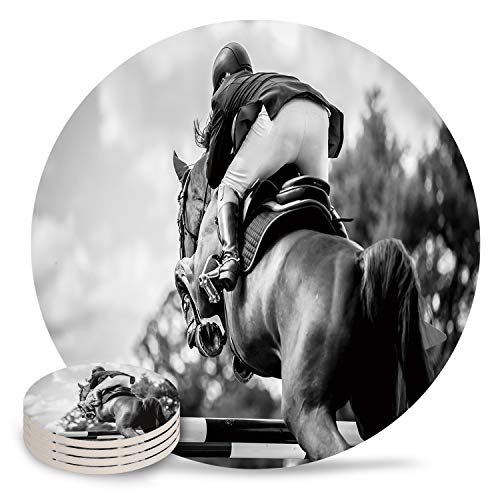Coasters for Drinks Absorbent Coaster Equestrian Competition Funny Ceramic Cup Coaster for Cold Drinks Wine Glasses Birthday Housewarming Gift 8 Piece Set