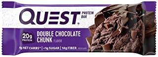 Quest Nutrition Protein Bar, Double Chocolate Chunk, 20g Protein, 4g Net Carbs, 180 Cals, 2.1oz Bar, 1 Count, High Protei...