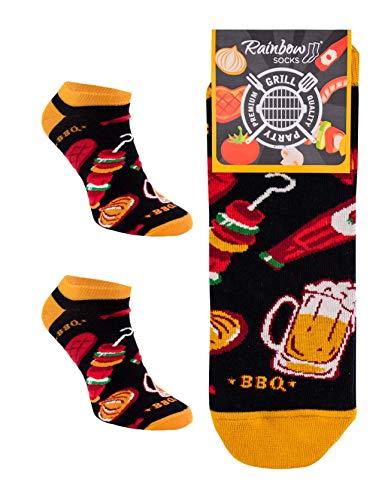 Rainbow Socks - Damen Herren Lustige Party Sneaker Socken- 1 Paar - Grill - Größen 41-46