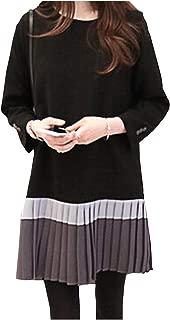 [ワン アンブ] ワンピース プリーツ 切替 体型カバー 着やせ きれいめ ブラック ネイビー グレー パーティ M ~ 4XL レディース