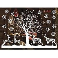 OUPAI 窓フィルム クリスマスの窓にしがみついている壁のステッカーかわいいサンタクロースのトナカイクリスマスホーム/ショップ/パーティーの窓の装飾用の静的PVCステッカー ガラスフィルム (Color : B)