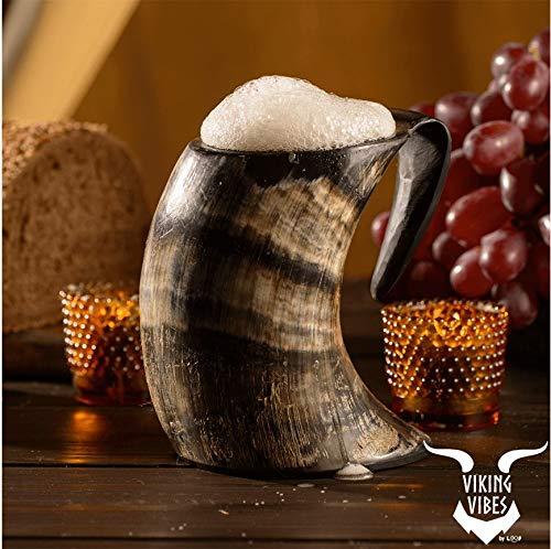 Loop Beber Cuerno Taza Jarra con Base de Madera - Genuino Hecho a Mano Original del Cuerno Taza de la Taza de Mead, ale y Cerveza -