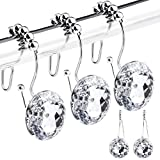 HOMEACC 12 Pcs Rhinestone Shower Curtain Hooks, Double Glide Shower Hooks Bling Acrylic Crystal Diamond, Decorative Stainless Steel Shower Curtain Rings,Bathroom Accessories Set(Crystal White)
