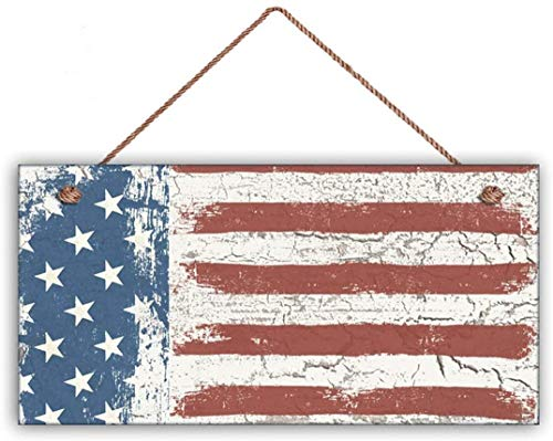 MAIYUAN American Flag Sign Weathered Patriotic Decor Stars & Stripes Crackled Flag 10x5 Sign(UG1266)
