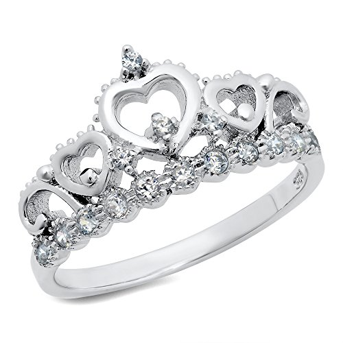 Metal Factory Sz 7 Sterling Silver Cubic Zirconia Princess Heart Crown Tiara CZ Band Ring