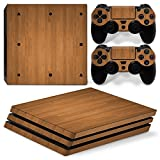 Morbuy PS4 Pro Skin Vinyl Autocollant Sticker Decal pour Playstation 4 Pro Console and 2 Dualshock Manette Set (Wood Brown)