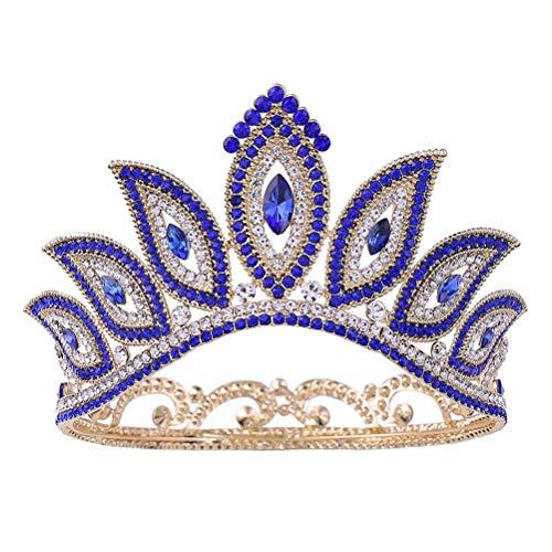 Corona redonda Tiara barroca Estilo de ojo mágico Corona de pelo Diamante...