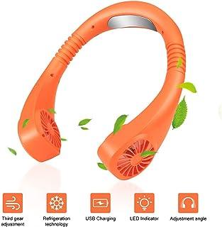 Forart Aire Acondicionado portátil Mini refrigerador Ventilador 3 velocidades Ventilador Personal Ventilador USB Ventilador de Cuello portátil de Mano Libre para Viajes Interiores y Exteriores