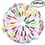 Gudotra 100 pcs Pinza de Pelo Horquillas Metal de Infantiles Clip de Pelo en Patrón Animal Fruta Multicolor Regalo para Niños de Cumpleaños