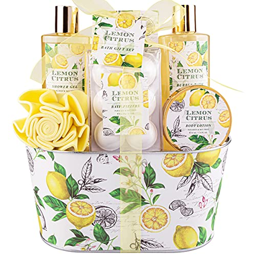 Bath Gift Set, Lemon Citrus Scent, Spa Gift Basket for Women, Great Gift Idea for Her, Birthday, Wedding, Anniversary Gift, Includes Shower Gel, Bubble Bath, Body Lotion, Bath Frizzes 8 Pcs