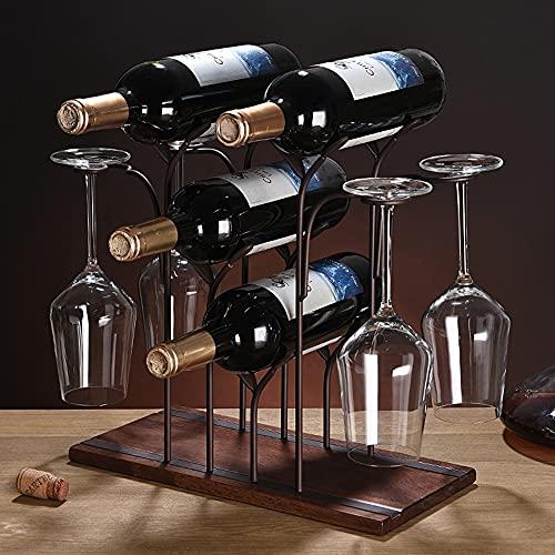 BE-STRONG Estante para Vino De Encimera con Soporte para Vidrio, Organizador De Almacenamiento De Vino De Pie, Madera Y Metal (para 4 Botellas Y 4 Vasos) para Cocina Despensa Bodega Bar