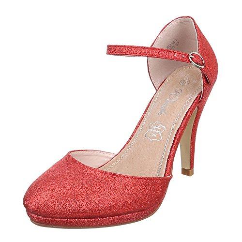 Damen Schuhe, XQ343-, Pumps, HIGH Heels MIT Riemchen, Synthetik, Rot, Gr 39