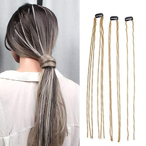 Pinzas para el cabello Cadena de extensión de cabello con borlas Cadena para el cabello, Peluca Accesorios para el cabello con flecos, Cadena para la cabeza con trenza sucia de metal Chapado en oro Ac