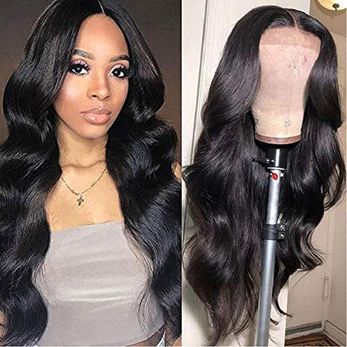 Fairgreat Hair Lace Front Human Hair Wigs for Women Pre Plucked Hairline, 130% Denisty 100% Unprocessed Brazilian Body Wave 4x4 Lace Front Wigs with Baby Hair Natural Color (20inch)