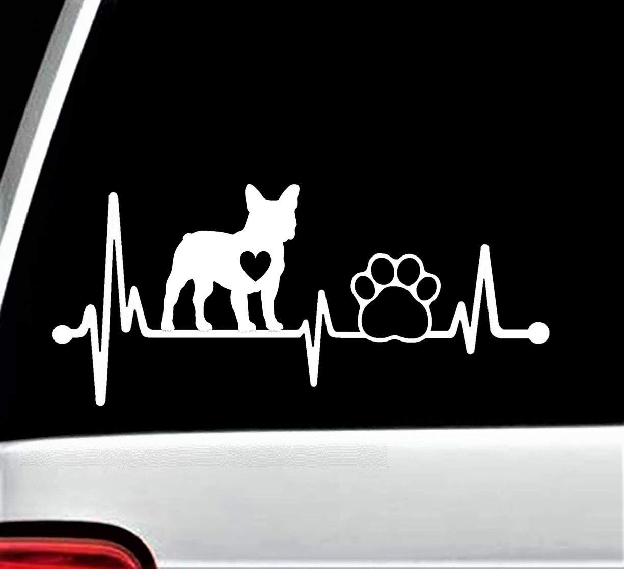 Max 79% OFF Frenchie French Bulldog Heartbeat Mail order Lifeline Dog Paw Sticker Decal