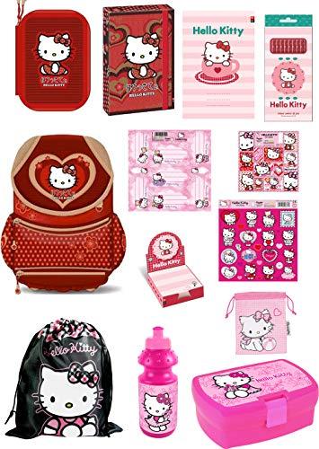 Exclusiv* 13tlg. Hello Kitty Schulranzen Set Kitty Schulset EDEL