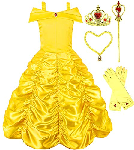 Romy's Collection Princess Belle Yellow Party Costume Dress-Up Set (5-6, Yellow)