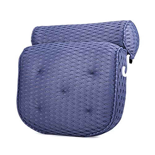 tao pipe Cojín de bañera antideslizante 4D de malla de aire para la cabeza y el cuello, con 7 ventosas para bañera, jacuzzi, spa, 30 x 36 cm (azul oscuro)
