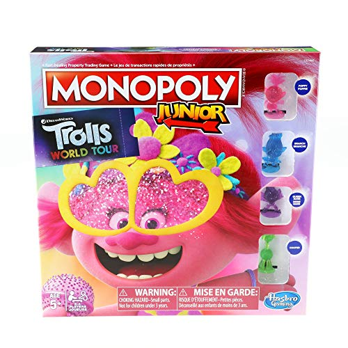 Hasbro E7496092 Monopoly Junior: DreamWorks Trolls World Tour Edition Board Game for Kids Ages 5 and Up