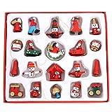 KESYOO 1 Caixa Enfeites Em Miniatura de Natal Santa Boneco de Neve Pendurados Pingentes Ãrvore de Natal Decoração de Madeira Fada Jardim Acessórios de Férias - Tamanho S