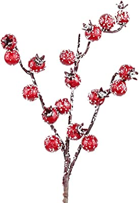 Amazon Com Amosfun 10pcs Artificial Red Berry Picks Stems Christmas Frosted Holly Berry Branches Christmas Floral Arrangements Table Centerpieces Diy Crafts Home Kitchen