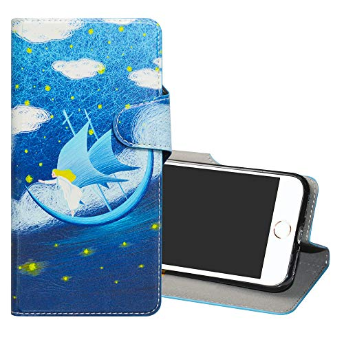 YCGG iPhone 7/8 Funda, 3D Dibujos Carcasa de Cuero sintético con Soporte Plegable y Ranuras Tarjetas Caso Cover para Apple iPhone 7/ iPhone 8(Not fit iPhone 7 Plus/iPhone 8 Plus),Dream Voyage