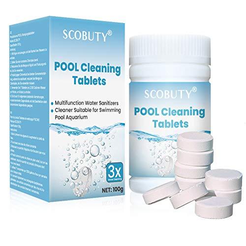 SCOBUTY Chlortabletten für Pool,Chlor Multitabs,Chlortabletten,Multifunktionale Chlortabletten für Planschbecken Whirlpool Schwimmbad Spa