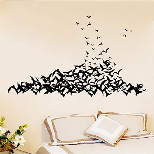Wuyii 3D-muurstickers, zwart, PVC, wandstickers, decoratie voor thuis, woonkamer, Halloween, 3D-muren, vinyl, vintage-stijl