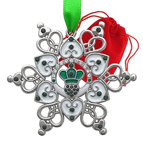 BANBERRY DESIGNS Irish Ornament - Claddagh Ornament - Irish Snowflake Ornament - Filigree Metal and Jewels - Irish Gift - Gift/Storage Bag Included