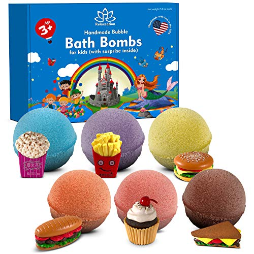 Bath Bombs for Kids with Toys Inside Fast Food Surprises - 6 Organic Bubble Bath Set Fizzies - Natural and Safe Multicolored Bath Bombs Gift Set for Girls & Boys