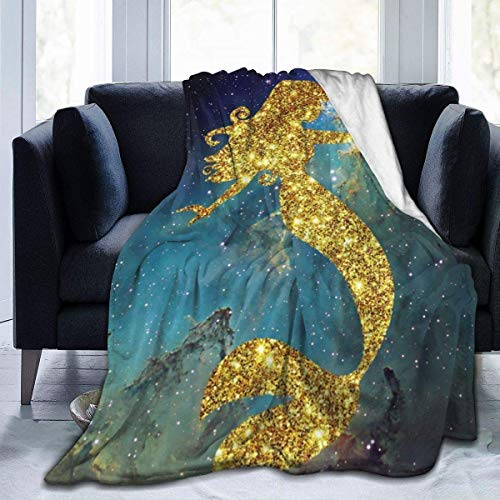 Ahdyr Throw Blanket Blue and Green Universe Blue Mermaid Ultra-Soft Micro Fleece Blanket 60 X 50 Inches Warm Blanket Lightweight Blanket