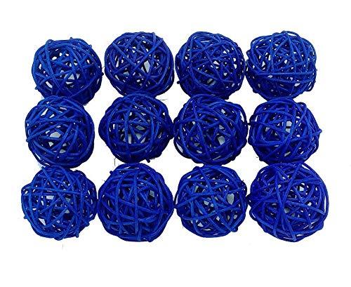 Fascola 12pcs Multi Colors Wicker Rattan Balls, Garden, Wedding, Party Decorative Crafts, Vase Fillers, Rabbits, Parrot, Bird Toys (Royal Blue, 3CM)