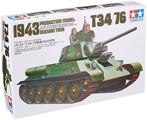 TAMIYA 35059 1:35 Russischer KPz T-34/76 1942/43 (3), Modellbausatz,Plastikbausatz, Bausatz zum Zusammenbauen, detaillierte Nachbildung