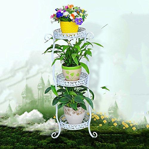 Porte-fleurs multifonctions Supports à fleurs Support à fleurs en fer Étagères à plusieurs étages Étagères à fleurs vertes pour intérieur et extérieur Support à fleurs pour salon (3 couleurs en option