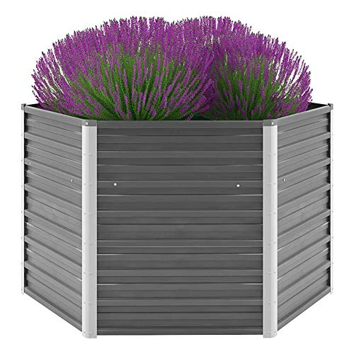 Pissente Jardinera de exterior hexagonal ondulado de acero galvanizado para flores y verduras, 129 x 129 x 77 cm (gris)