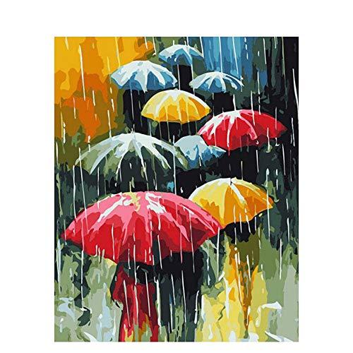 Generic malen nach Zahlen Regenschirm-40x50cm Hauptdekoration