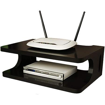 Set-Top Box Rack Router Router Box de Almacenamiento Player DVD Caja de Almacenamiento Smart Home Game Console TV Accesorios de TV Pintura Hack (Blanco/Negro) (Color : Black)