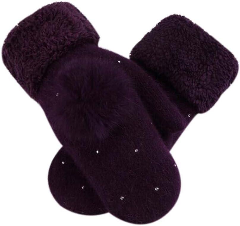 Panda Legends Woollen Gloves Lovely Winter Gloves Women Mitten to Keep Warm,Purple