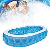 JASSXIN Kinder aufblasbare Planschbecken, Oval Elliptical Pool aufblasbarer Pool Tub-Baby-Pool Kinder Badewanne Ruder Pool 234X152x51cm Outdoor Fun Planschbecken