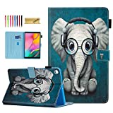 SM-T510 Case for Samsung Galaxy Tab A 10.1 2019 Case, Dteck Slim Fit Premium Leather Folio Stand Protective Magnetic Case with Card Slots for Samsung Tab A 10.1 inch SM-T510/T515, Music Elephant