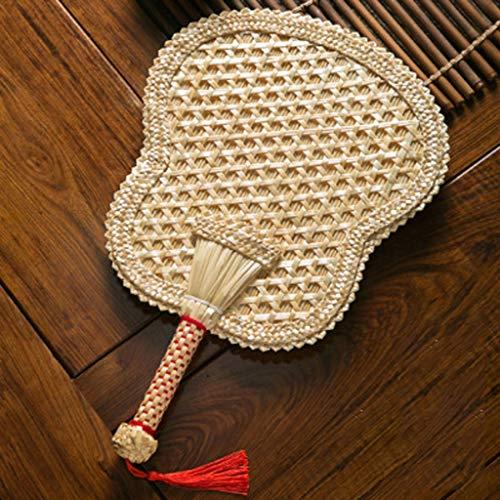 Ventilador hecho a mano con decoración de ratán, ventilador a mano es un producto especial para los huéspedes para preparar la ceremonia de boda, el fanático de la paleta con fanático de la rafia de b