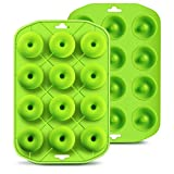 Silicone Mini Donut Maker Baking Muffin Pan Tray 12 Holes Pure Food Grad Green makes12 Full Size Donuts, BPA...