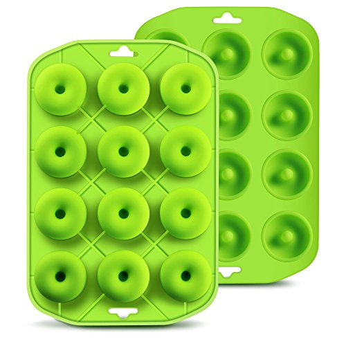 Silicone Mini Donut Maker Baking Muffin Pan Tray 12 Holes Pure Food Grad Green makes12 Full Size Donuts, BPA Free, German LFGB Approved by Cupidove