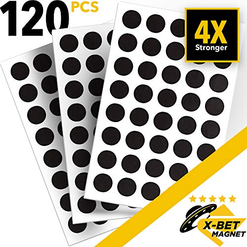 X-bet MAGNET Round Magnets with Adhesive Backing - 120 PCs Flexible Self Adhesive Magnets for Crafts - Small Sticky Magnetic Dots are Alternative to Magnetic Tape, Strip and Stickers