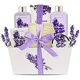 Bade- und Dusch Set: Body & Earth Gift Basket 6-teiliger Lavendel Duft Spa Geschenkset für Frauen,...