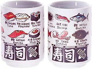 Japanische Tee Tasse, sushi-yunomi, Keramik, bedruckt Sushi