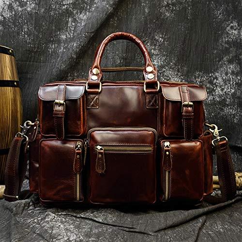 Yi-xir Ladies' favorite bag Leather shoulder product combination laptop bag fashion file bag leather office handbag Diagonal bag backpack (Color : Brown1, Size : XL)