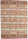 CarpetVista Alfombra Kelim Anatolian, Pelo Corto, 140 x 200 cm, Rectangular, Moderna, Lana, Cocina, Salón, Comedor, Multicolor