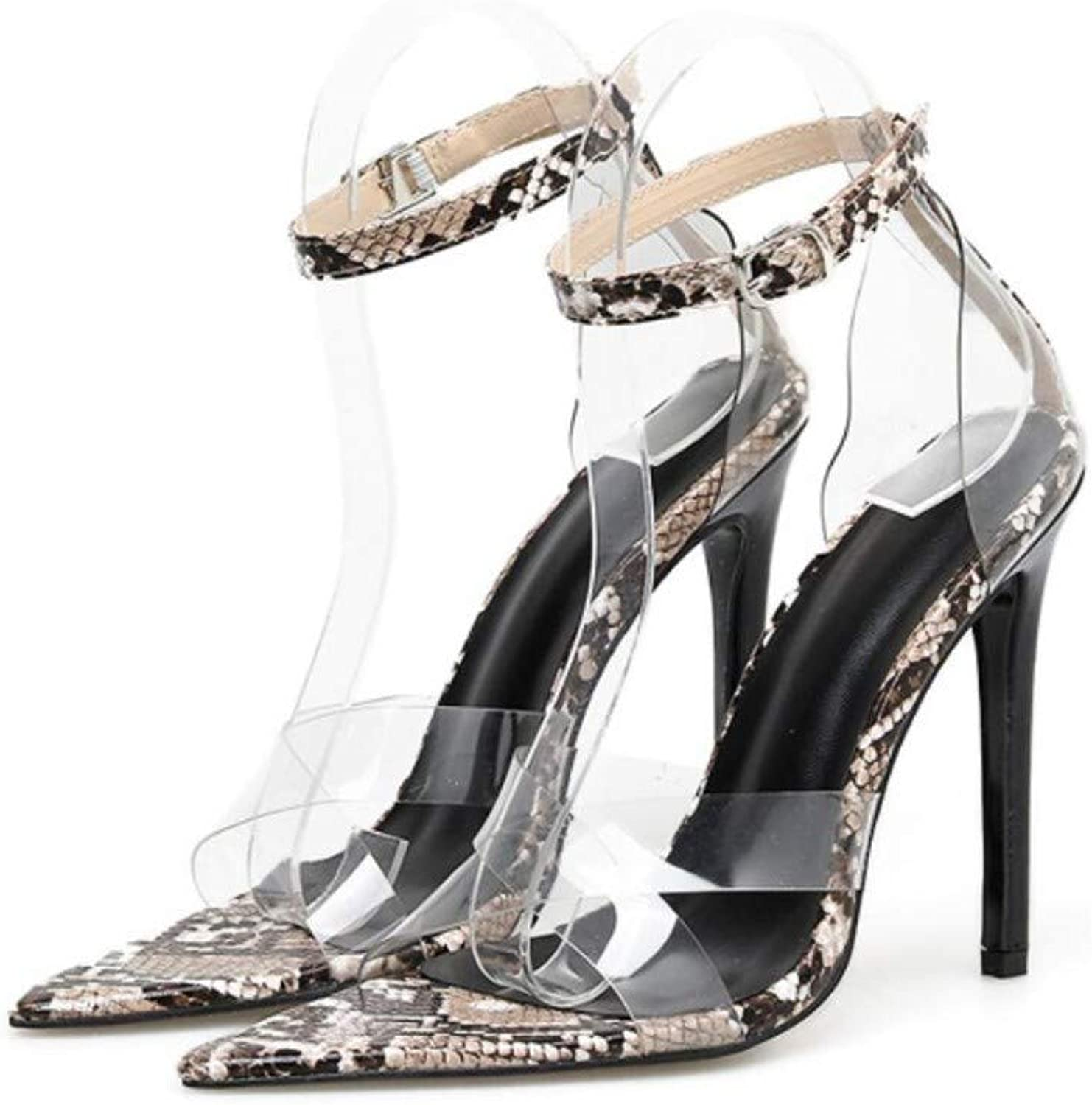 JQfashion Ladies'High-Heeled Sandals Transparent Sexy Cross Snake Patten Pointed Thin-Heeled Summer